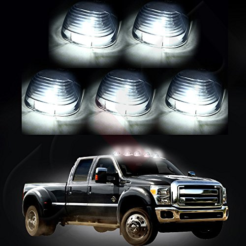 CCIYU 5x Smoke Cab Roof Running Light Marker Lens +5x168 Led Light 6-5730SMD HID White Fits 1999-2016 Ford E150 E250 E350 E350 Super Duty E450 Super Duty F250 F350 F450 F550 Super Duty F150 (2000 F250 Cab Lights compare prices)