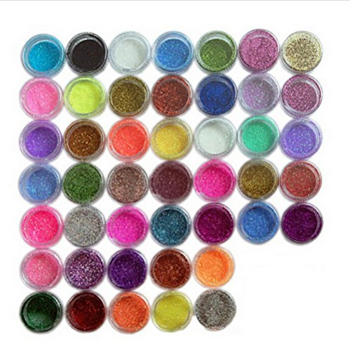 Nail Art Supplies. Ship From USA--45 Colors Nail Art Make Up Body Glitter Shimmer Dust Powder Decoration