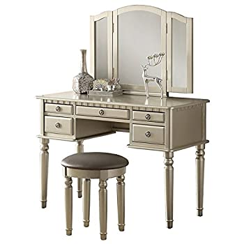 Poundex Bobkona St. Croix 3 Fold Mirror Vantiy Table with Stool Set, Silver