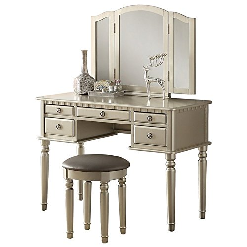 Poundex Bobkona St. Croix 3 Fold Mirror Vantiy Table with Stool Set, Silver 1