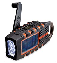 Solar And Crank Powered Emergency Radio With Led Flashlight And Usb Charger, In Orange