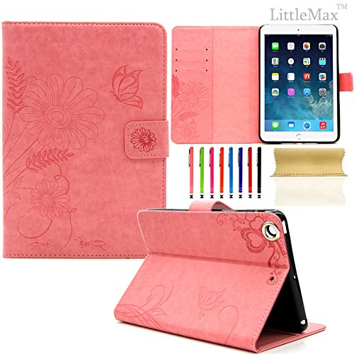 iPad Mini 1/2/3 Case-LittleMax Smart Embossed Leather Case Pure Color [Magnetic Closure] Stand Case with [Cards Holder] for Apple iPad Mini 3 2 1 [Free Cleaning Cloth,Stylus Pen]-#3 Pink (Ipad Mini Smart Case Leather compare prices)