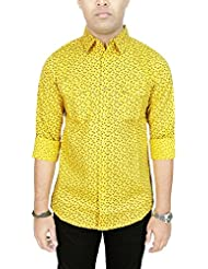 AA' Southbay Men's Yellow 100% Cotton Printed Long Sleeve Casual Shirt With 2 Flap Pockets