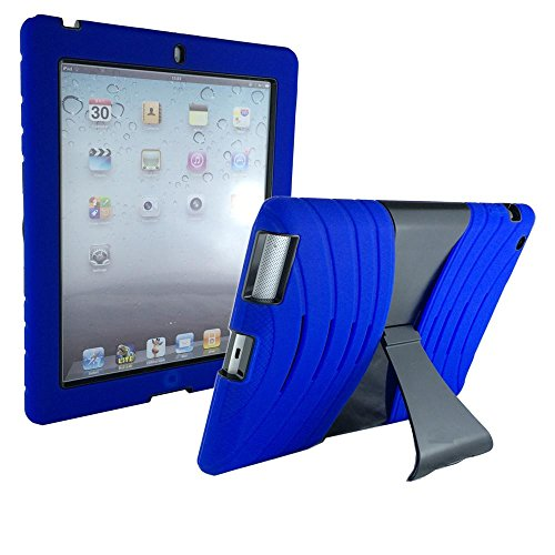 VAKOO® iPad 2 3 4 Case Lightweight Shockproof Drop Resistance Rugged Silicone + Plastic 2 Layer Hybrid Defender Super Protection Case and Built-in Kickstand for Apple iPad 2 iPad 3 iPad 4 (Blue/Black)