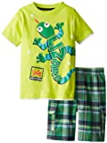 Kids Headquarters Little Boys Crew Neck Tee with Plaid Cargo Shorts Lizard