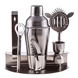 Cuisine Prefere Pro Stainless Steel Bartender Martini Shaker Cocktail Bar Tool Set with Strainer Corkscrew Bottle Opener Jigger Ice Tongs and Storage Rack