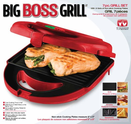 Big Boss 8869 7-Piece Grill Set with 3 Sets of Non-Stick Cooking Plates, Red (Big Boss Grill compare prices)