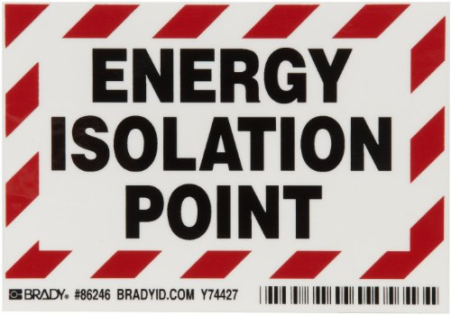 "Brady 86246 3-1/2"" Height, 5"" Width, B-302 High Performance Polyester, Black And Red On White Color Energy Isolation Point Labels, Legend ""Energy Isolation Point"" (Pack Of 5)"