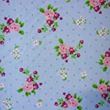 Blue Polka Dot Polycotton Fabric with Roses and Small Flower Print (Per Metre)