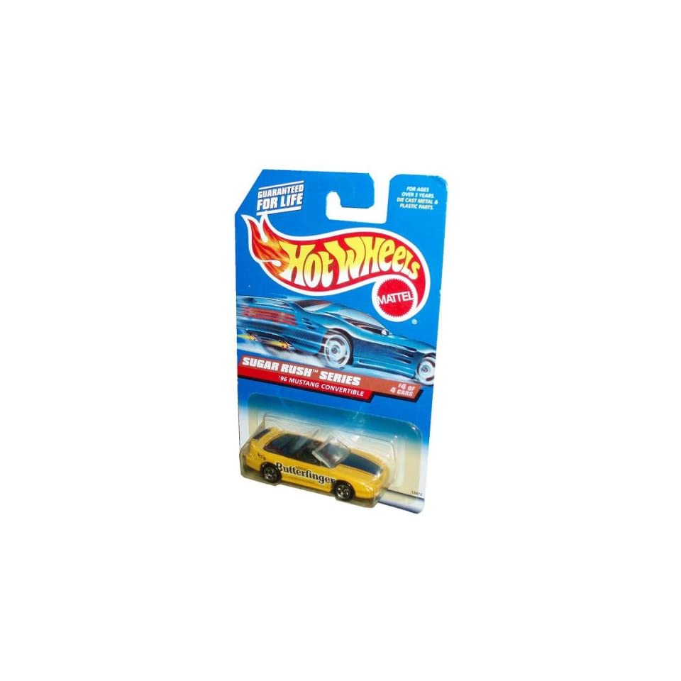 Mattel Hot Wheels 1997 Sugar Rush Series 164 Scale Die Cast Metal Car # 4 of 4   Nestle Butterfinger Yellow Sport Coupe 1996 Mustang Convertible (Collector No. 744)