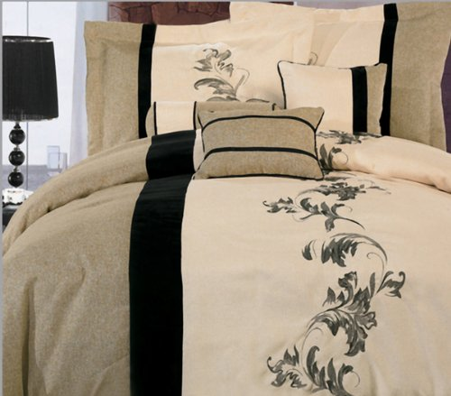 7 Pieces Luxury Beige, Cream, And Black With Floral Linen Comforter Set / Bed-In-A-Bag Queen Size Bedding front-903954
