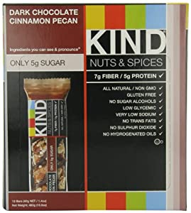 KIND Nuts & Spices, Dark Chocolate Cinnamon Pecan, 12-Count Bars by KIND
