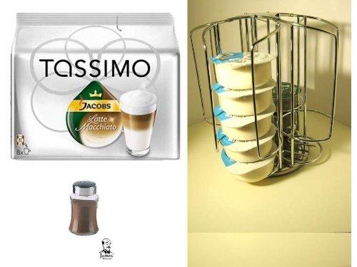 Tassimo JACOBS Krönung Caramel Macchiato + + der passende Mini Tower Kapselhalter,Kapselständer mit Spezial Schacht für die grossen Milchkapseln + Verwöhnkanne T-Disc und kleinen T-Disc Ständer + zusätzlichen einen Schokostreuer aus Glas von James Premium®