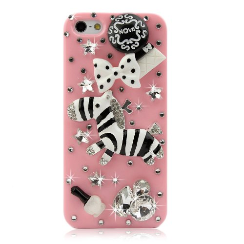 NOVA CASE ® Fauna Series 3D Bling Crystal iPhone Case for iPhone 5/5S- (Package includes: soft pouch, screen protector, extra crystals) Pink Baby Zebra (Packages Of Iphone 5s Cases compare prices)