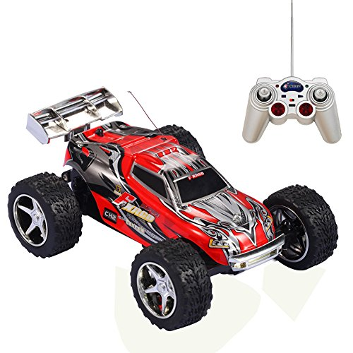 Remote Control Car,KAWO 1:32 Scale High Speed Off-road ABC Channel 5 Speed Transmission 6 Position Control Electric Monster Trugg Toys(Red) (Rc Monster Truck With Camera compare prices)