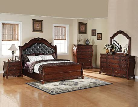 Great Queen Bedroom Set Cherry Distressed Wood Leather Headboard Piece Set