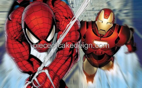 1/8 Sheet ~ Avenegers Spider-Man & Iron Man Birthday ~ Edible Image Cake/Cupcake Topper!!!