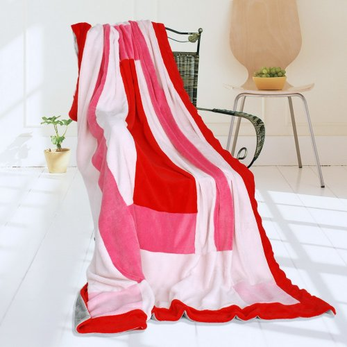 Onitiva - [Rosy Clouds] Soft Coral Fleece Patchwork Throw Blanket (59 By 78.7 Inches) front-516279
