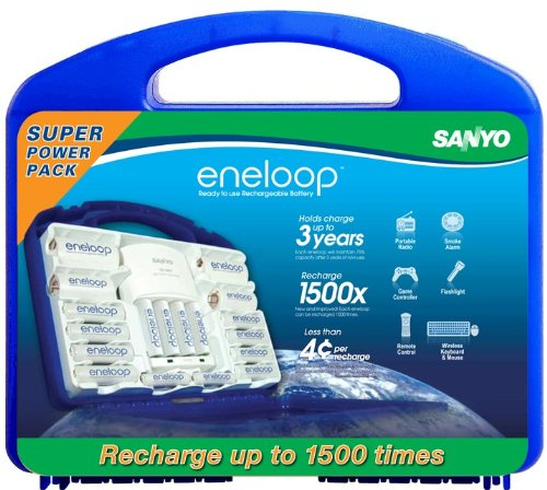 Sanyo SEC-N16SETEVP NEW eneloop 1500 Super Power Pack with 12 AA, 4 AAA, 2 C and D Spacers, 4 Position Charger and Storage Case