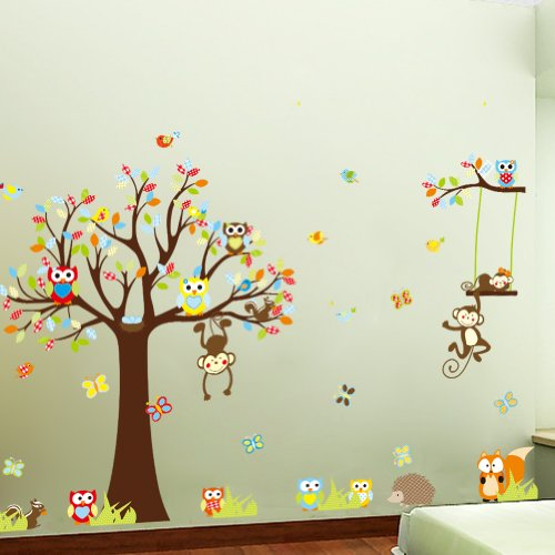 Witkey Forest Animals Owl Birds hanging Monkey Squirrel Colorful Tree Art Wall Stickers Decal for Nursery Home Decor Boys and Girls Children Courtyard Baby Room - 1