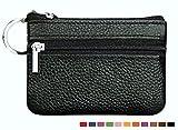 小銭入れ レザー コインケース 本革 キーリング 付き 2ポケット メンズ レディース Homarina 多機能 薄型 マルチケース (01 ブラック)