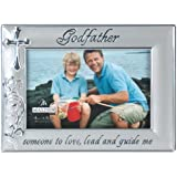 Malden International Designs Godfather with Cross Picture Frame, 4 by 6-Inch, Silver