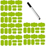 SySrion 60 Fancy Rectangle Chalkboard Sticker Variety Pack with Black Pen - Chalkboard Labels in 4 Sizes --Chalkboard Labels, Reusable Blackboard Stickers, Canning Labels, Chalk Labels, Chalkboard Canning Lid Labels (Light Green)