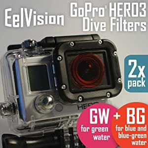 GoPro HERO3 Dive Filters (2 pack: BG+GW) Red + Magenta, Dive Diving Underwater Color Correction