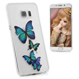 S6 Edge Plus Case,Samsung Galaxy S6 Edge Plus Case - BADALink Slim Fit Soft TPU Skin Gel Case with 3D Basso-relievo Colorful Print Pattern Frosted Frame with Dust Plug & Stylus Pen - Blue Butterflies