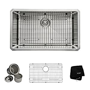 Kraus KHU100-30 30-Inch Undermount Single Bowl 16 gauge Kitchen Sink, Stainless Steel