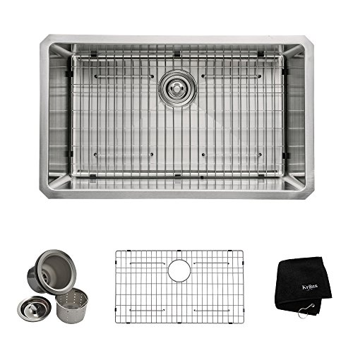 Kraus 30 inch Undermount Single Bowl 16 gauge Stainless Steel Kitchen Sink
