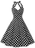 Dressystar ホルターネック ノースリーブ スイングワンピース 1950年代 水玉柄 ゴム入れるバック 発表会ドレス 結婚式ドレス ブラックドット XS