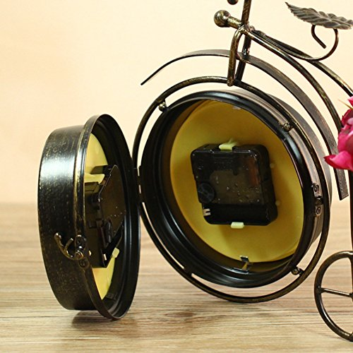 NEOTEND Handmade Vintage Bicycle Clock Bike Mute Two Sided Table Clock 5