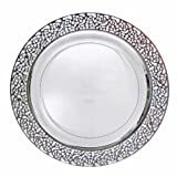 """Decor Elegant Disposable Premium Heavy Weight 7.25"""" Dinner Plates, Inspiration Silver & Clear, 40 Count"""