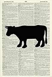 COW ART PRINT - COW SILHOUETTE ART PRINT - ANIMAL ART PRINT - Kitchen Wall Art - ART PRINT - VINTAGE ART - Illustration - Picture - Vintage Dictionary Art Print - Wall Hanging - Book Print 268D