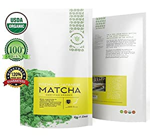 Greenhouse Superfoods :: BEST TASTING :: GREAT GIFT :: 5% Donated to Cancer Cure Research :: Japanese Organic Ceremonial Green Matcha Tea Powder :: 35g Bonus Size ::120% Money Back Guarantee
