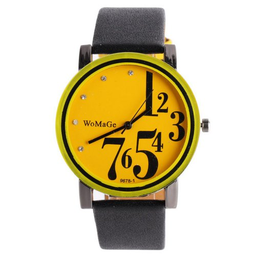 Womage Fashion Jelly Girls Ladies Leather Band Quartz Unisex Wrist Watch Gift Yellow