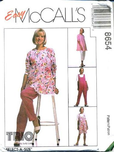 McCall's Sewing Pattern 8654 Misses' Maternity Tunic, Jumpsuit in 2 Lengths & Pants in 2 Lengths, Size E (14 16 18)