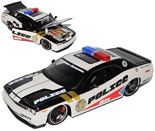 dodge-challenger-lc-ab-2008-tuning-schwarz-police-911-1-24-maisto-modell-auto