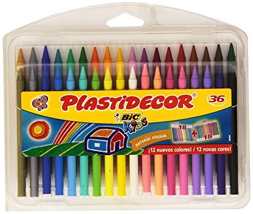 BiC Plastidecor - Pack de 36 lápices de ceras