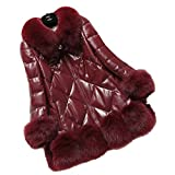 Queenshiny New Style Women's 100% Real Sheep Leather Down Coat Jacket with Fox Collar by NYC Leather Factory Outlet