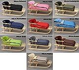 Holzschlitten mit Rückenlehne mit Winterfußsack Schlitten Holz | 10 Farben (Blau)