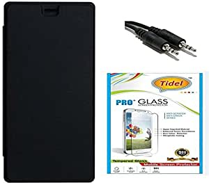 Tidel Flip Cover For Lenovo A7000 PLUS With 2.5D Tempered Glass &Aux cable