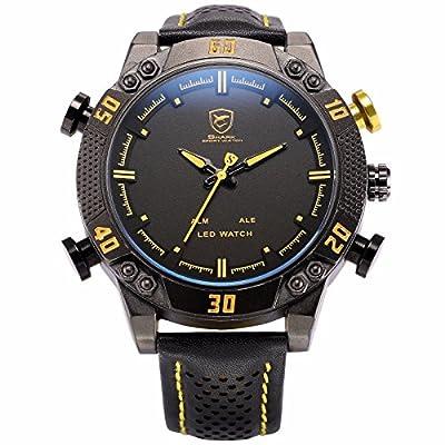 ++Canaloha:)++ NA ver SHARK LED Date Day Alarm Digital Analog Quartz Sport Black Yellow Wrist Watch