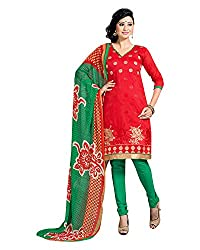 Clothing Deal Women's Chanderi Unstitched Dress Material (Red & Green)