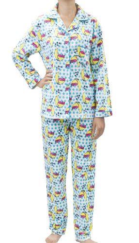 Leisureland Women's Cotton Flannel Pajama Set Sleepy Kitty Cat Blue Large