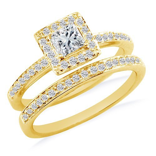 SuperJeweler 1/2ct Diamond Bridal Set in 14K Yellow Gold (GH SI3)