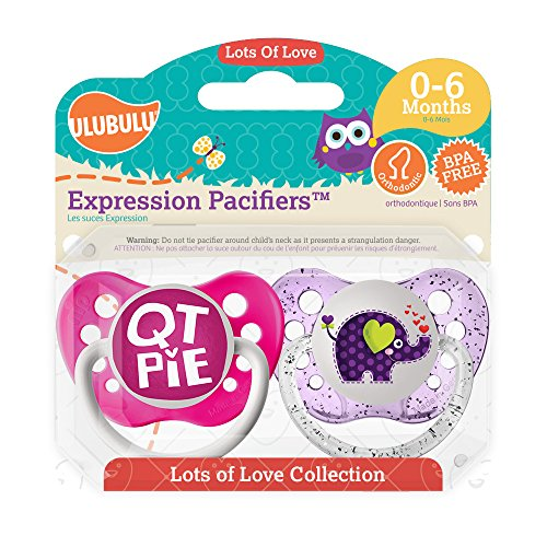 Ulubulu Pacifiers for Girls, Qt Pie and Elephant, 0-6 months
