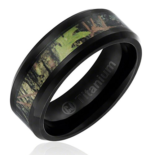 8MM Titanium Promise Engagement Rings for Men | Wedding Bands for Him | Camouflage Inlay and Beveled Edges [Size 10] (Camouflage Rings For Men compare prices)