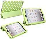 ITALKonline PADWEAR ADVANCED Executive GREEN WHITE POLKA DOTS Wallet Case Cover Stand With TRI-FOLD SMART TILT and Magnetic Sleep Wake Sensor Feature For Apple iPad Mini Tablet (Wi-Fi and Wi-Fi + 3G + 4G) 16GB 32GB 64GB